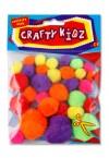 CRAFTY KIDZ PACKET OF 30 NEON POM POMS