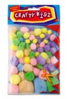 CRAFTY KIDZ PACKET OF 70 POM POMS PASTEL