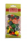 ICON CRAFT PACKET OF 52 WOODEN BUTTONS - COLOR