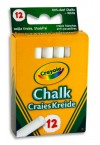 CRAYOLA BOX 12 ANTI-DUST CHALK - WHITE